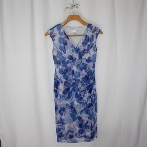 London times sheath fitted floral blue dress sz 8